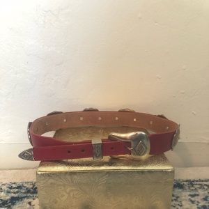 Vintage Red Country Western Cowboy Leather Belt